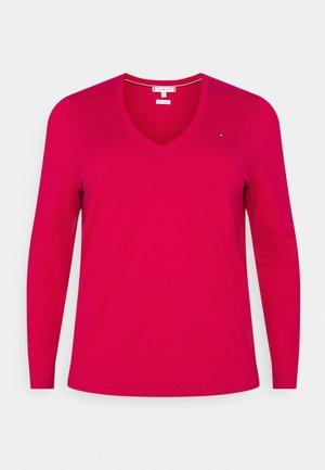 VNECK CURVE - Jumper - ruby jewel