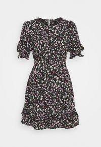 Dorothy Perkins - DOUBLE FRILL HEM MINI DRESS DITSY PRINT - Denní šaty - black - 5