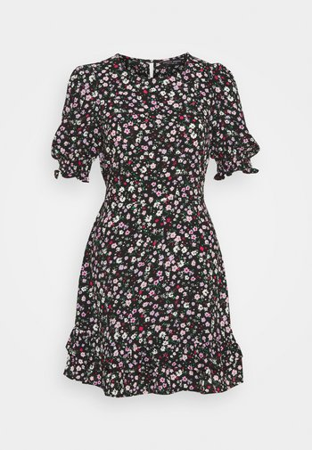 DOUBLE FRILL HEM MINI DRESS DITSY PRINT - Kjole - black