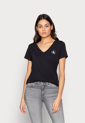 MONOGRAM SLIM V-NECK TEE - T-shirts - black