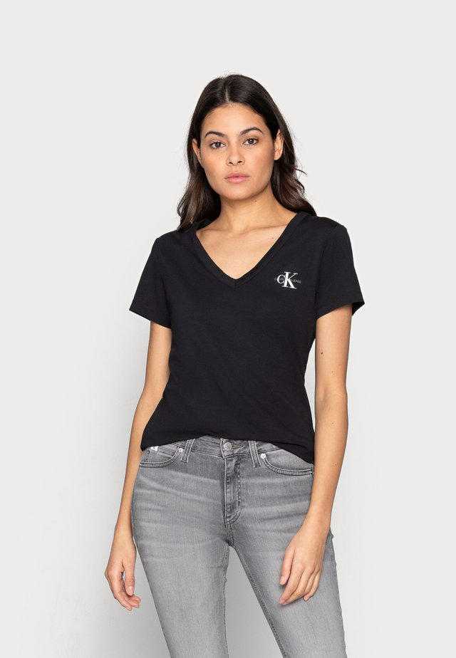MONOGRAM SLIM V-NECK TEE - T-shirt basic - black