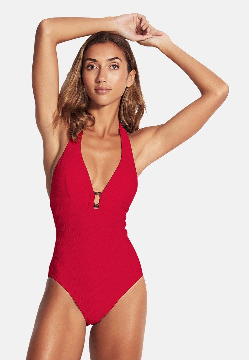 Seafolly - CAPRI SEA HALTER MAILLOT - Swimsuit - ruby
