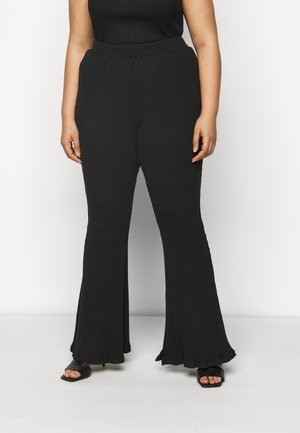 FLARE TROUSERS - Bukse - black