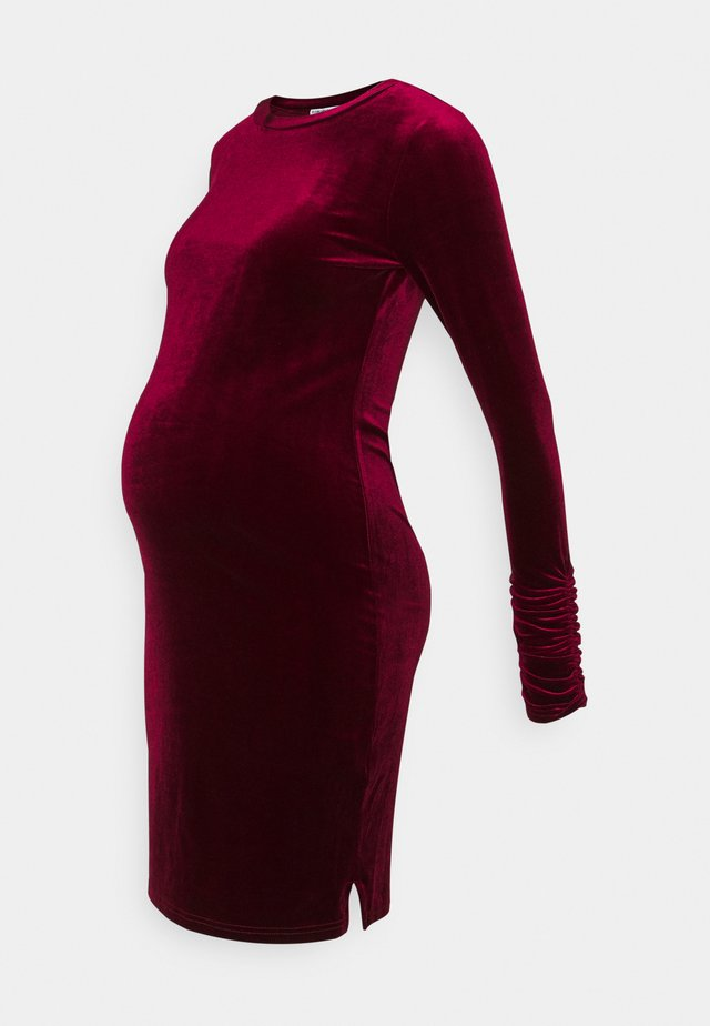 LONG SLEEVE DRESS - Etui-jurk - burgundy