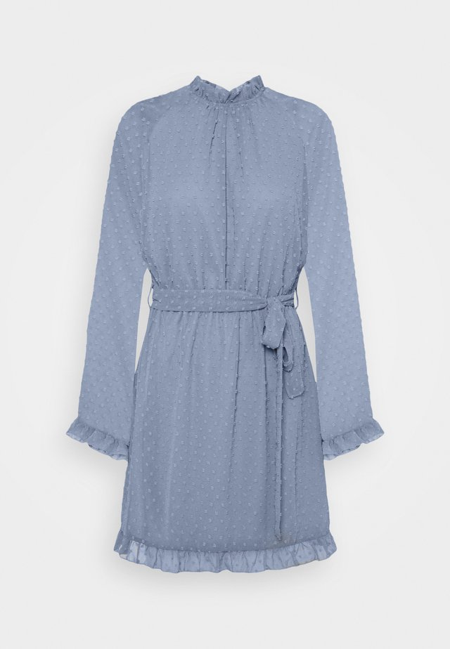TIE WAIST OPEN BACK DOBBY DRESS - Korte jurk - baby blue