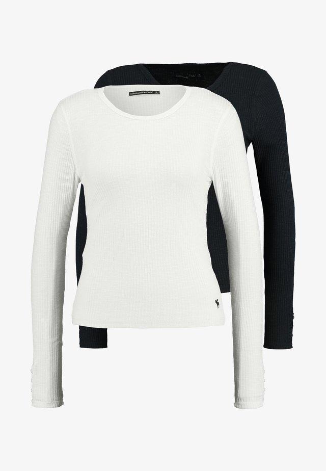 SLIM MULTI 2 PACK - T-shirt à manches longues - black/white
