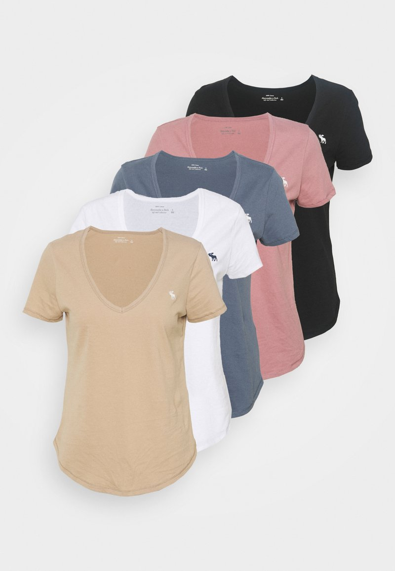 Abercrombie & Fitch - 5 PACK - T-shirts - white/tan/rose/blue/black