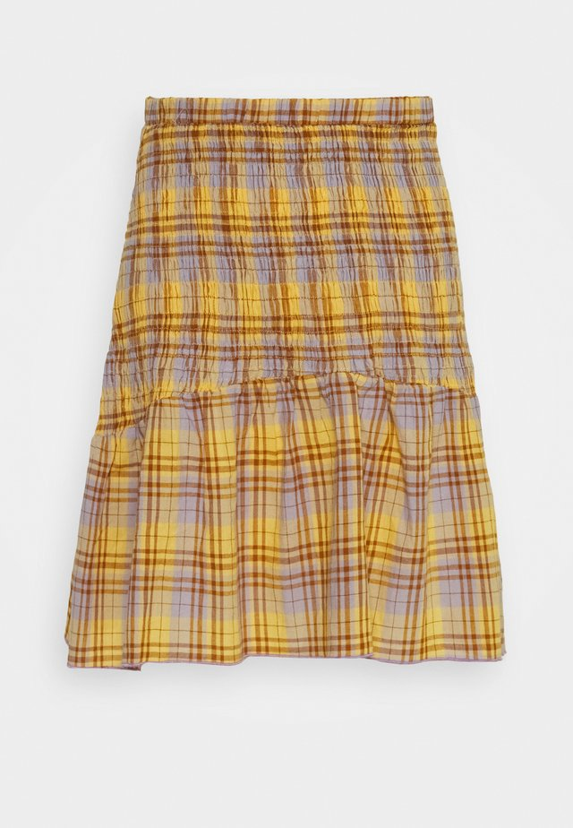 SHIRRED CHECK MINI SKIRT - Mini skirts  - multi