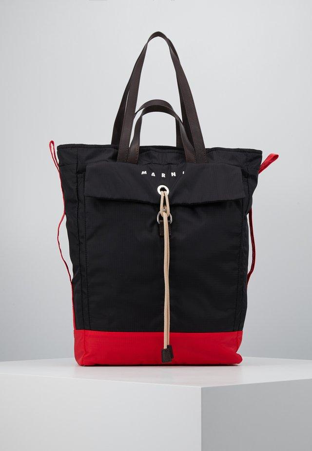 Tote bag - black/red/brown
