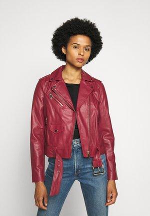 CLASSIC MOTO - Leather jacket - maroon
