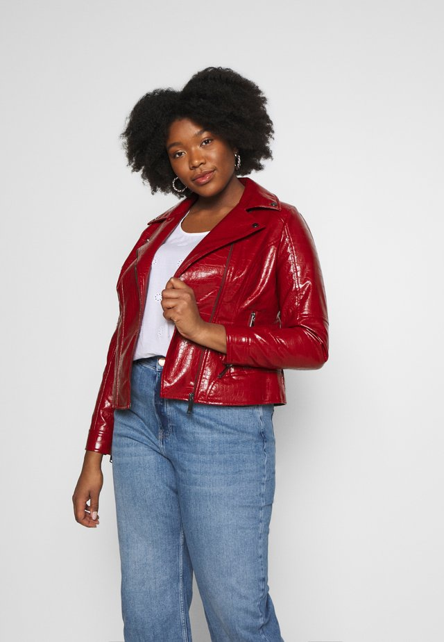 Faux leather jacket - red