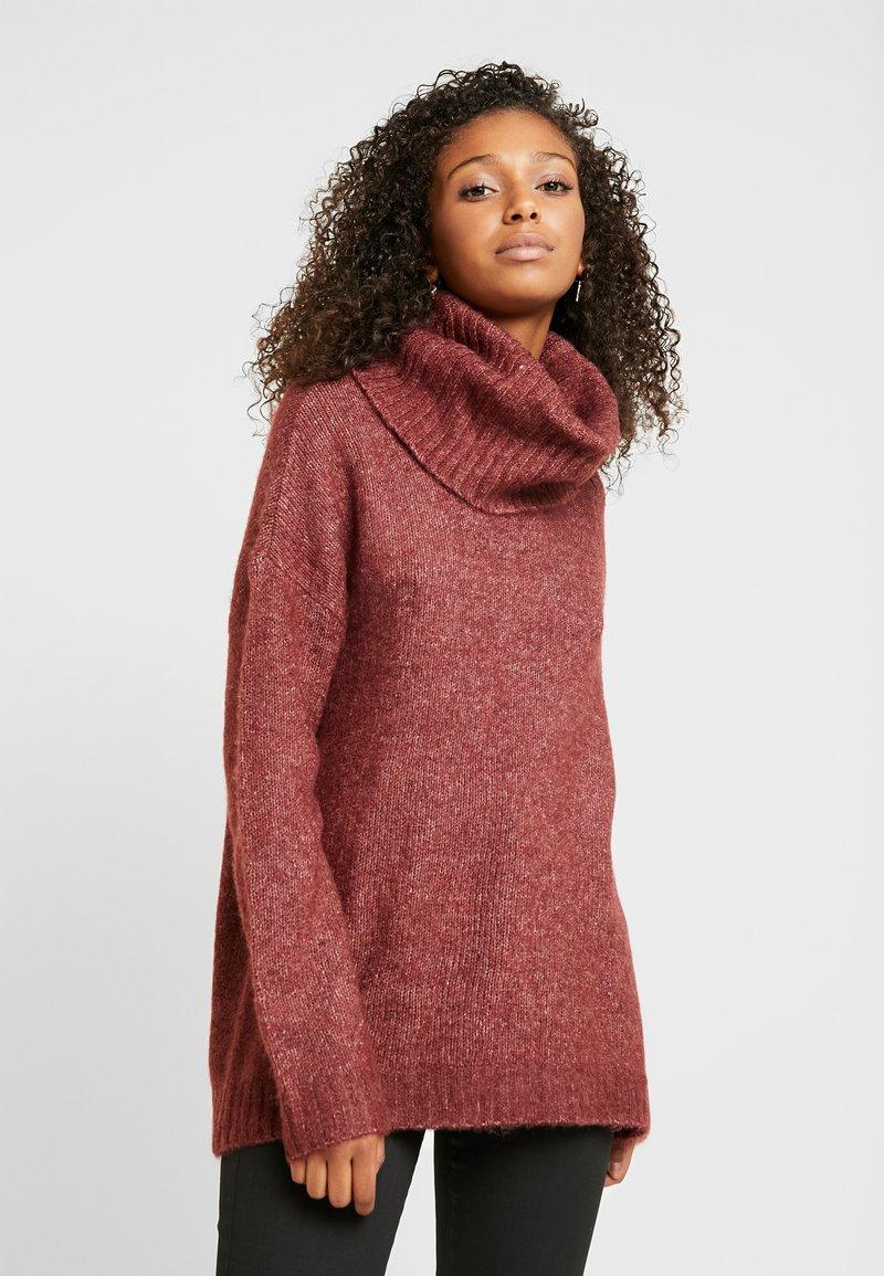Vero Moda - VMKIZZI LONG COWLNECK - Jersey de punto - madder brown/melange