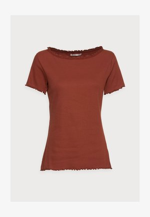SHORT SLEEVE BOATNECK TOP - Triko s potiskem - dark red