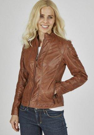 MIT ZIERNäHTEN  - Leather jacket - cognac