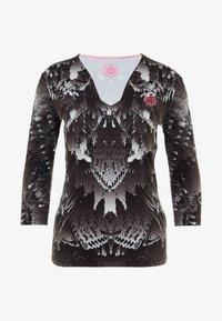 BIDI BADU - ARIANA TECH V-NECK LONGSLEEVE - Top sdlouhým rukávem - black/white - 4