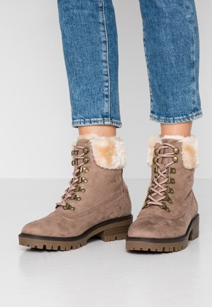 MILLIE COLLAR LACE UP HIKER - Lace-up ankle boots - taupe