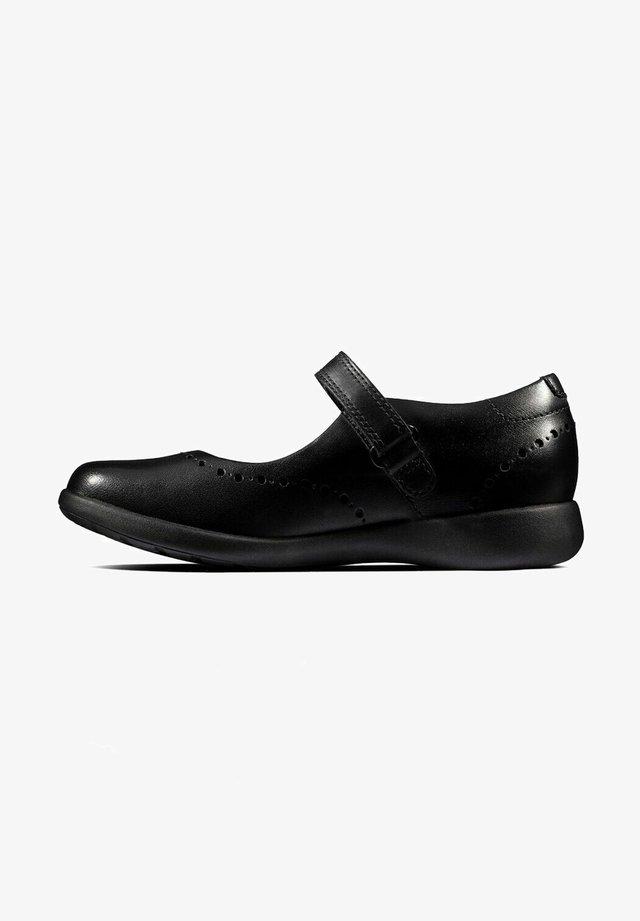 Ballerina's met enkelbandjes - black leather