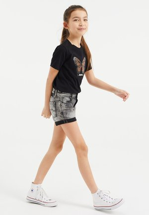 SKINNY FIT  - Denim shorts - grey
