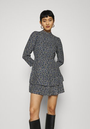 SHEERED NECK MINI DRESS DITSY PRINT - Kjole - black