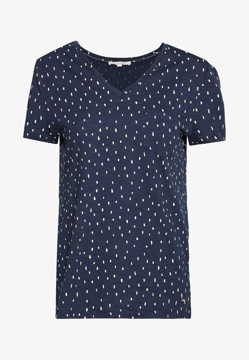 TOM TAILOR DENIM - PRINTED SLUB TEE - T-shirt imprimé - dark blue