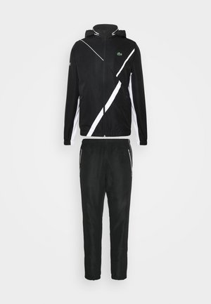 SET TENNIS TRACKSUIT HOODED - Verryttelypuku - black/white