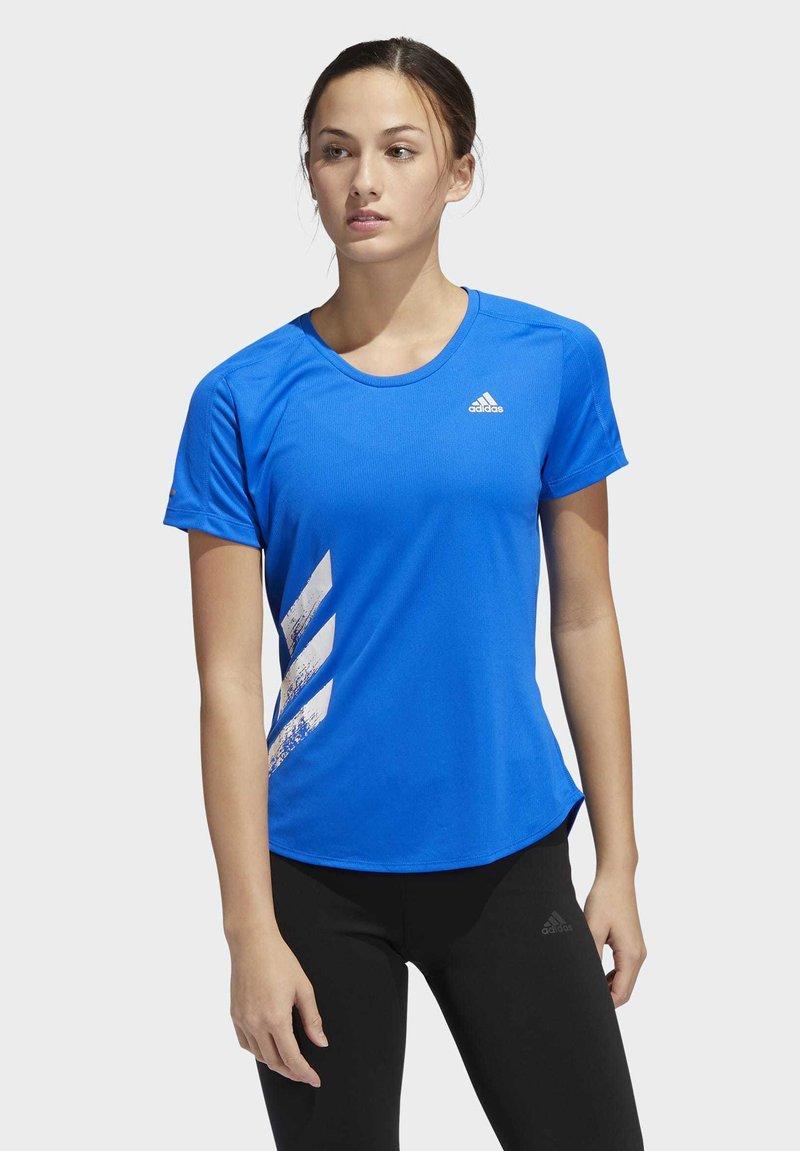 adidas Performance - RUN IT 3-STRIPES FAST T-SHIRT - Print T-shirt - blue