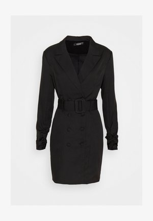 DOUBLE BREASTED BELTED BLAZER DRESS - Vestido camisero - black
