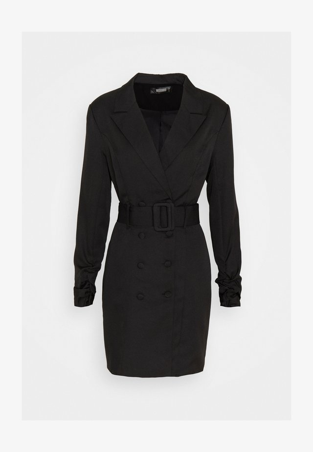 DOUBLE BREASTED BELTED BLAZER DRESS - Blousejurk - black