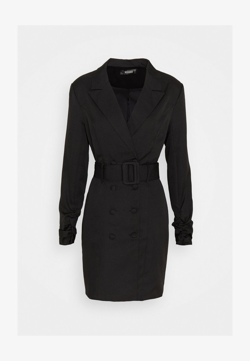 Missguided - DOUBLE BREASTED BELTED BLAZER DRESS - Vestido camisero - black