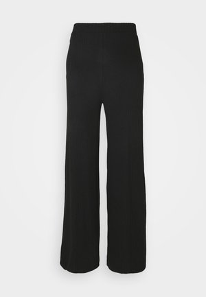 Wide Leg Ribbed Trousers - Trousers - black