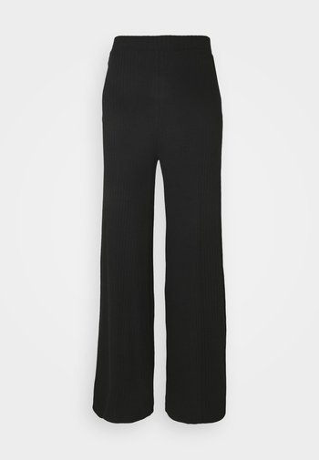 Wide Leg Ribbed Trousers