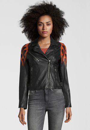 BE HOT - Leather jacket - black-orange