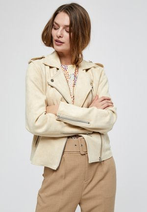 TANIA  - Faux leather jacket - seedpearl cream