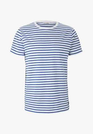 Print T-shirt - blue white thin stripe
