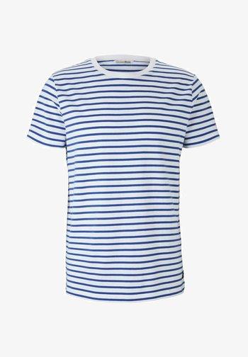 T-shirt imprimé - blue white thin stripe