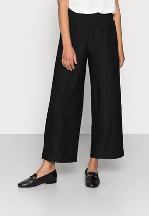 PCCURLI CROPPED - Trousers - black