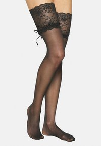Pour Moi - ALL TIED UP LACED UP STOCKING  - Overknee-strømper - black - 2
