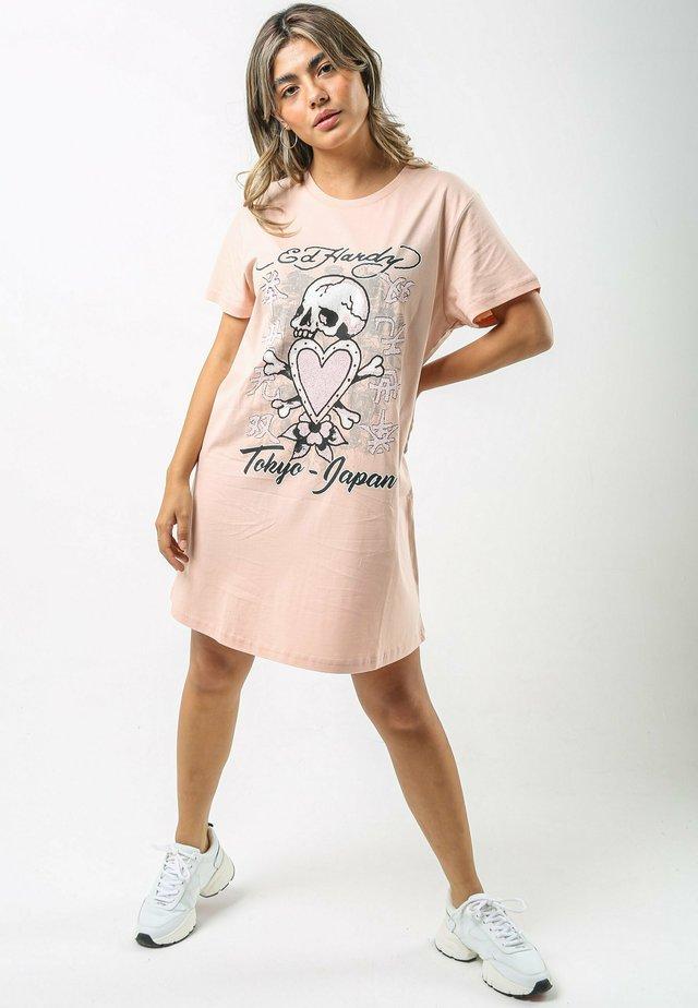 SKULL-PINK T-SHIRT DRESS - Jerseyjurk - dusty pink