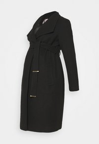 Dorothy Perkins Maternity - FUNNEL WRAP COAT - Zimní kabát - black - 0