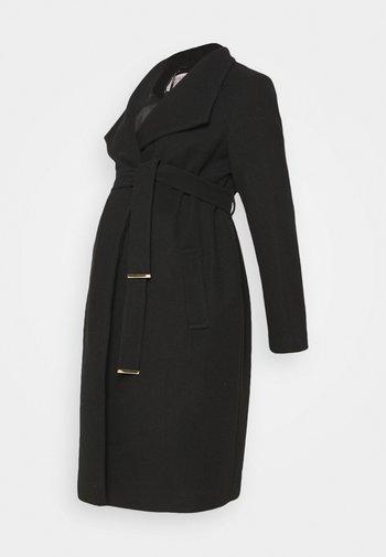 FUNNEL WRAP COAT - Classic coat - black