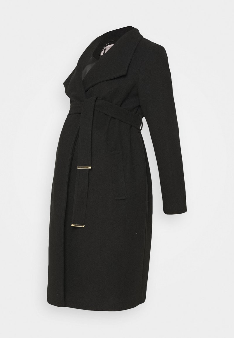 Dorothy Perkins Maternity - FUNNEL WRAP COAT - Zimní kabát - black