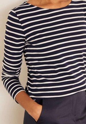 BRETON - Long sleeved top - navy/naturweiß