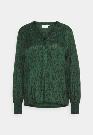 KANAOMI BLOUSE - Blouse - dark green/black stroke