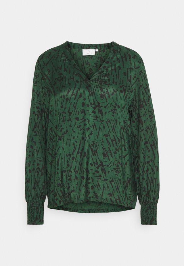 KANAOMI BLOUSE - Bluzka - dark green/black stroke