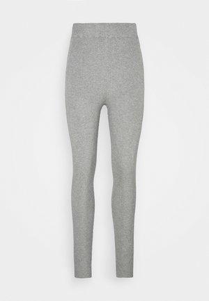 HIGH WAISTED RIBBED LEGGINGS - Leggings - Trousers - mottled grey