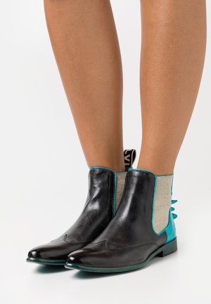 KEIRA  - Ankle boots - black/turquoise/white/rich tan