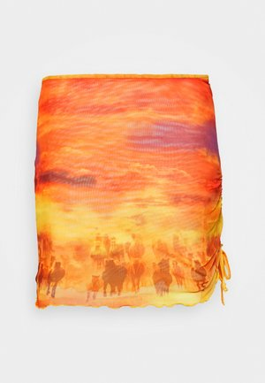 HORSE LANDSCAPE LAYERED  SKIRT WITH BABYLOCKING - Minisukně - multi