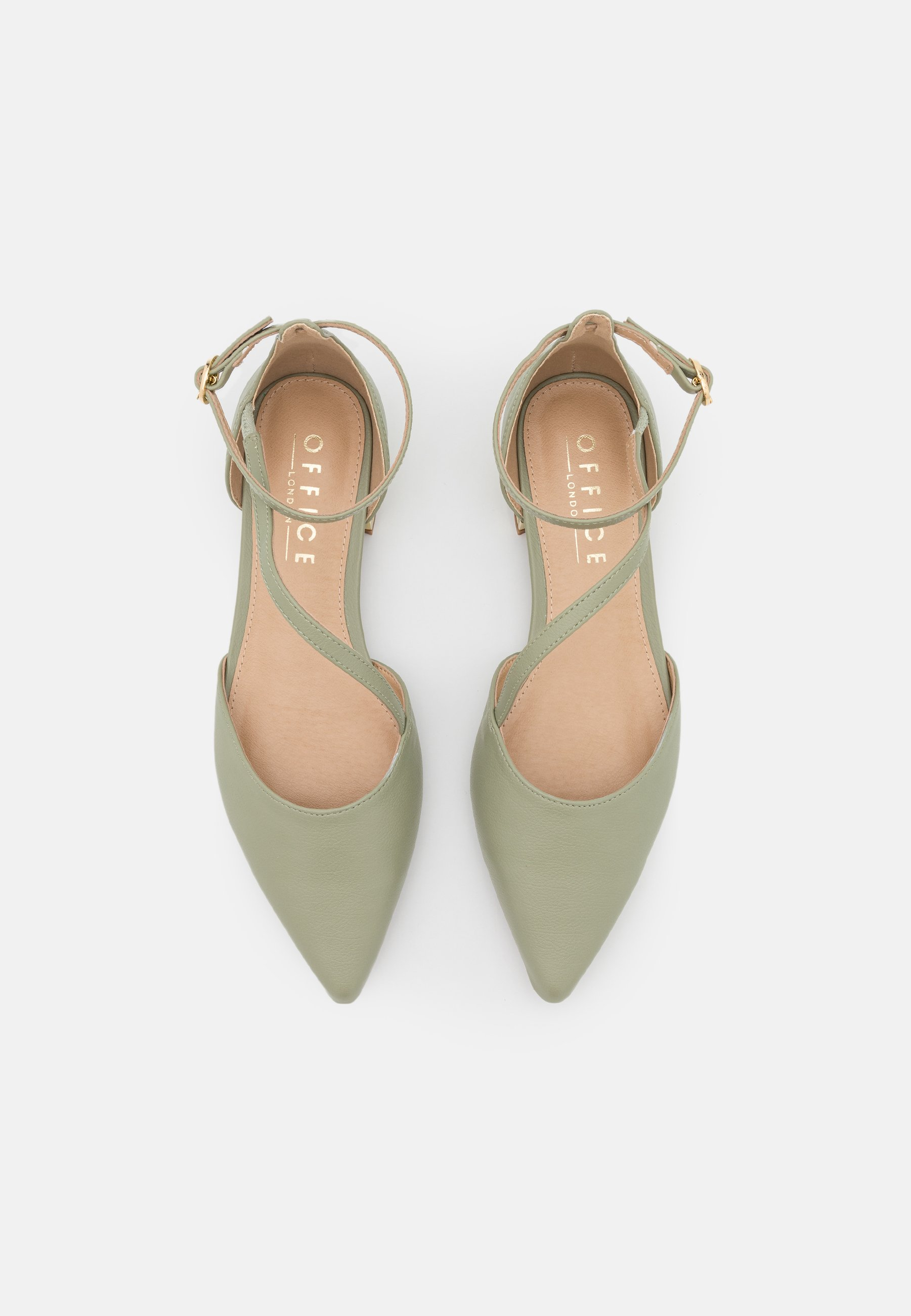 Women ASYMMETRIC ANKLES STRAP POINT SHOE - Ankle strap ballet pumps