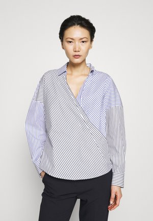 STRIPE ROLLED CUFF COLLARED WRAP - Blouse - ivory/black/electric blue