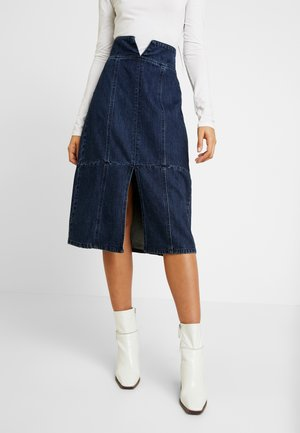 HIGH WAIST SEAM DETAIL A LINE MIDI SKIRT - A-line skirt - dark denim